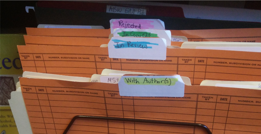 Physical folders for tracking manuscript status